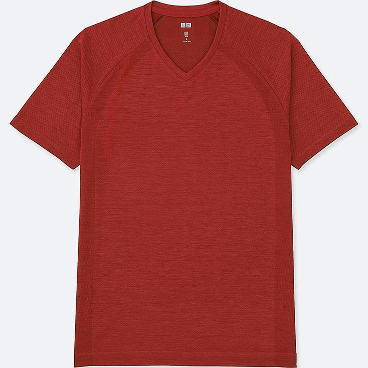 MEN DRY EX SHORT SLEEVE V-NECK T-SHIRT, RED, large