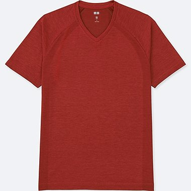 MEN DRY EX SHORT SLEEVE V-NECK T-SHIRT, RED, medium