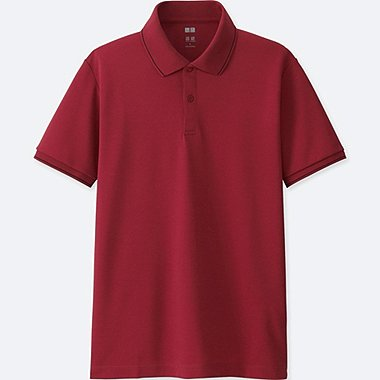 MEN DRY EX SHORT SLEEVE POLO SHIRT, RED, medium