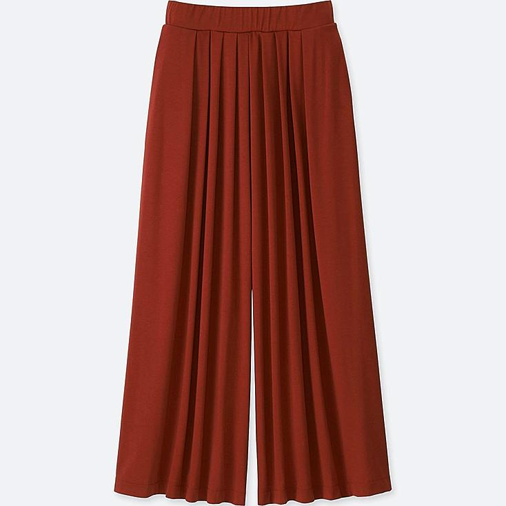 WOMEN TUCK FLARE WIDE PANTS, RED, large