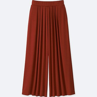 WOMEN TUCK FLARE WIDE PANTS, RED, medium