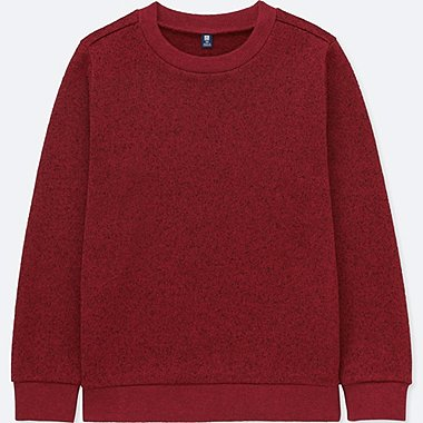 KIDS KNITTED FLEECE CREWNECK LONG-SLEEVE T-SHIRT, RED, medium