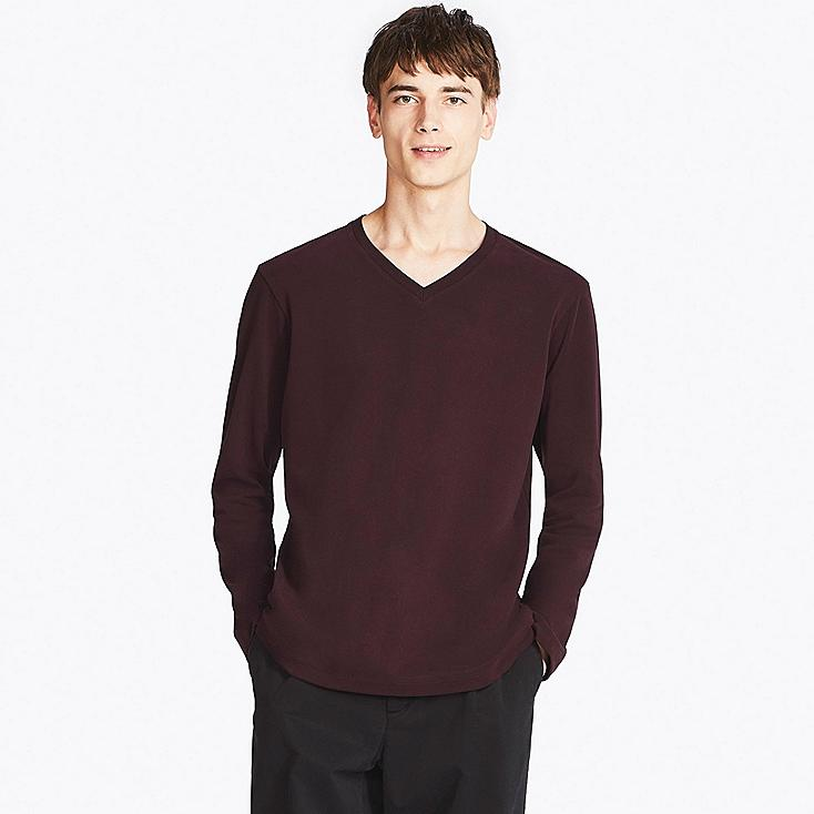 MEN SOFT TOUCH V-NECK LONG-SLEEVE T-SHIRT, RED, large