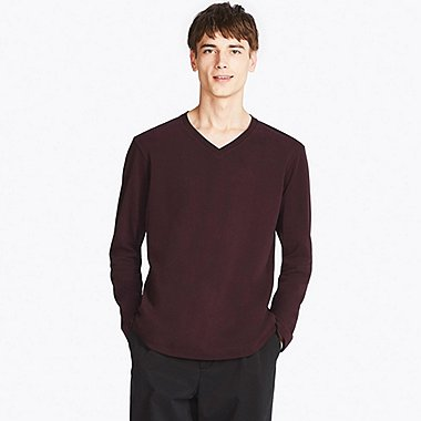 MEN SOFT TOUCH V-NECK LONG-SLEEVE T-SHIRT, RED, medium