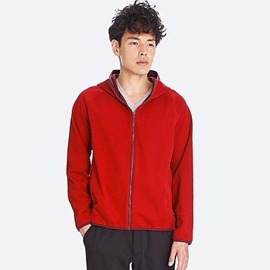 MEN BLOCKTECH FLEECE LONG-SLEEVE FULL-ZIP HOODIE, RED, medium