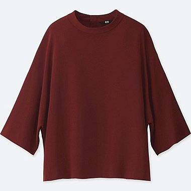 WOMEN DRAPE MOCKNECK 3/4 SLEEVE BLOUSE, RED, medium