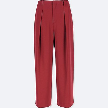 WOMEN DRAPE WIDE-LEG ANKLE-LENGTH PANTS, RED, medium