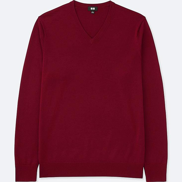 MEN EXTRA FINE MERINO CREWNECK SWEATER, RED, large