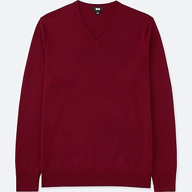 MEN EXTRA FINE MERINO V-NECK SWEATER, RED, medium