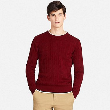 MEN CABLE CREW NECK SWEATER
