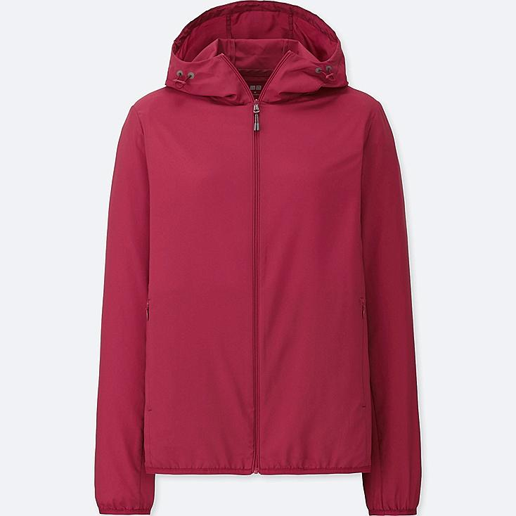 WOMEN POCKETABLE PARKA, RED, large
