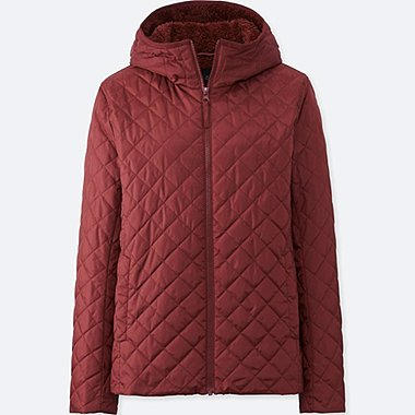 WOMEN PILE-LINED FLEECE PARKA, RED, medium