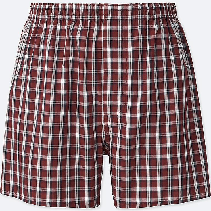 MEN WOVEN CHECKED BOXERS, RED, large