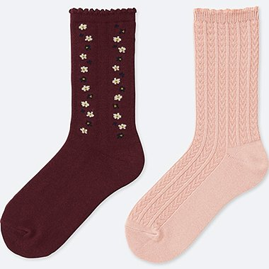 GIRLS REGULAR SOCKS (2 PAIRS), RED, medium