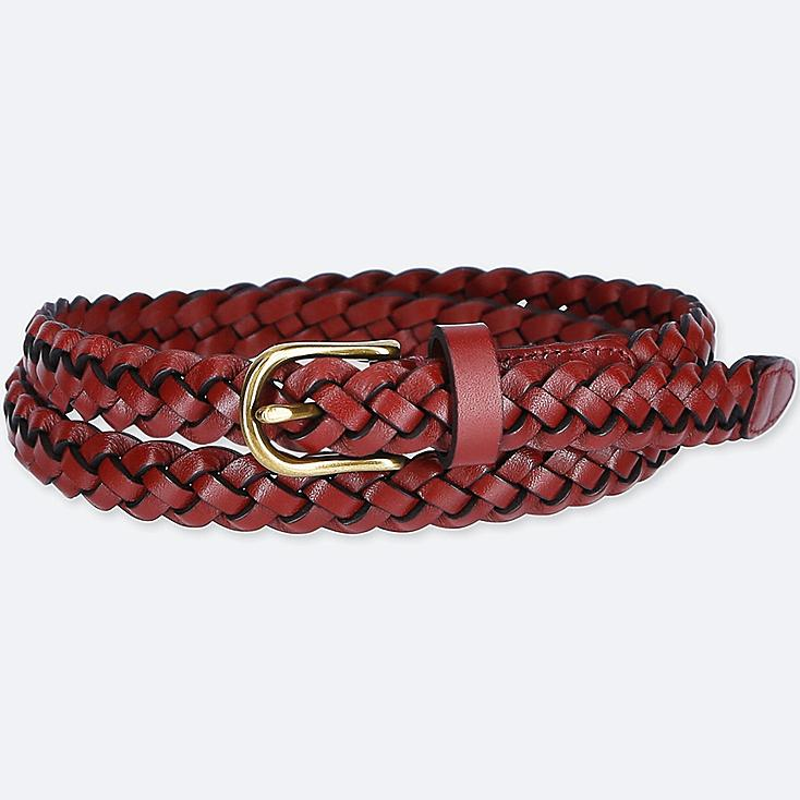 Women Mesh Skinny Belt, RED, large