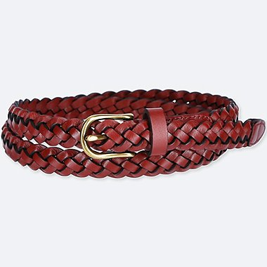Women Mesh Skinny Belt, RED, medium