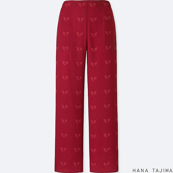 WOMEN PRINT RELAXED PANTS, RED, large