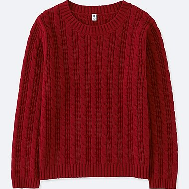 KIDS CABLE CREWNECK LONG-SLEEVE SWEATER, RED, medium