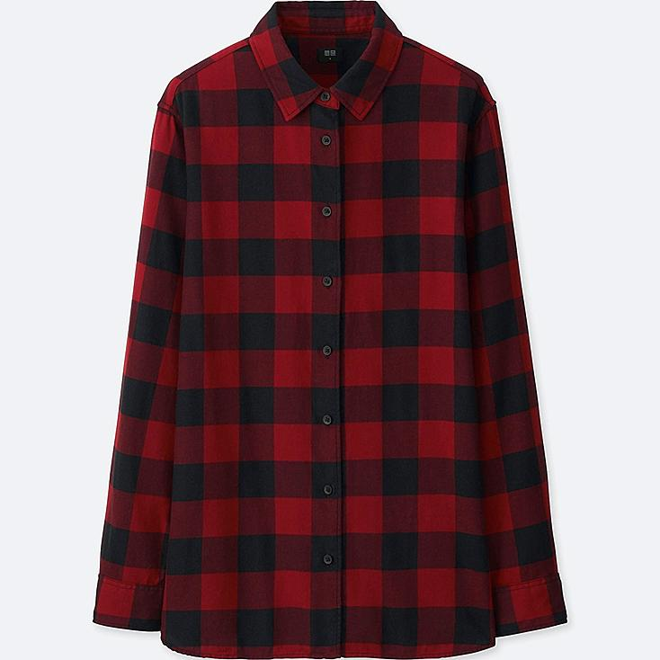 WOMEN FLANNEL CHECKED LONG SLEEVE SHIRT