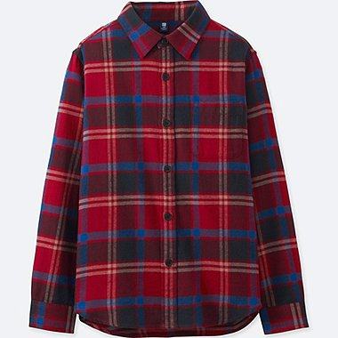 BOYS FLANNEL CHECK LONG-SLEEVE SHIRT, RED, medium