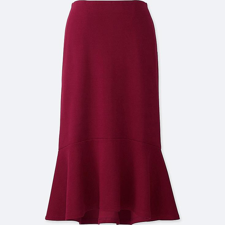 WOMEN MILANO RIBBED SKIRT, RED, large