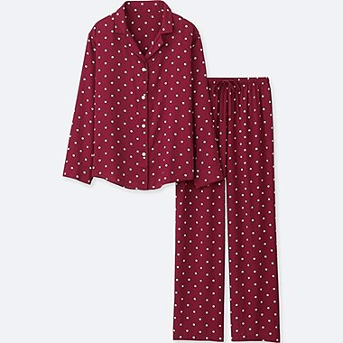 WOMEN RAYON PRINTED LONG-SLEEVE PAJAMAS, RED, medium