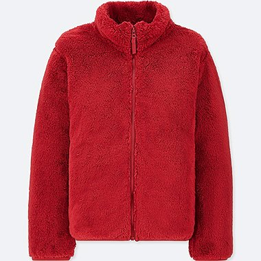 KIDS FLUFFY YARN FLEECE LONG-SLEEVE JACKET, RED, medium
