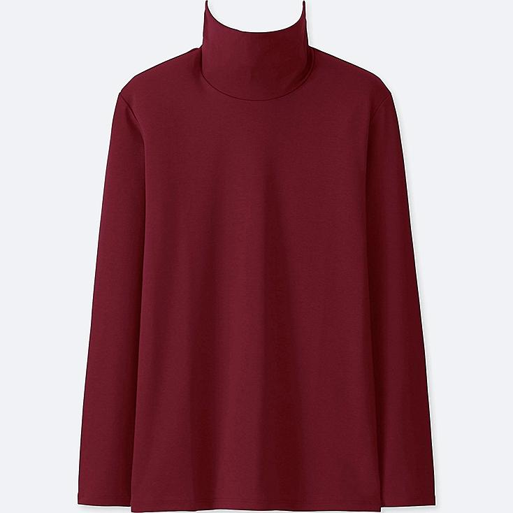 WOMEN COMPACT COTTON TURTLENECK LONG-SLEEVE T-SHIRT, RED, large