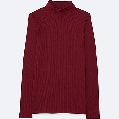 WOMEN RIBBED HIGH-NECK LONG-SLEEVE T-SHIRT, RED, medium