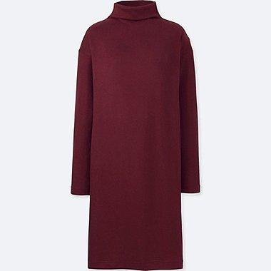 WOMEN SOFT KNITTED FLEECE LONG-SLEEVE DRESS, RED, medium