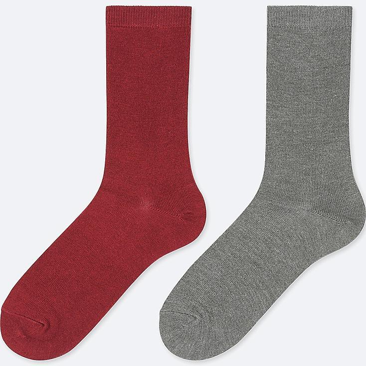 WOMEN HEATTECH SOCKS (2 PAIRS), RED, large