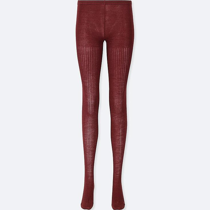 WOMEN HEATTECH KNITTED RIBBED TIGHTS, RED, large