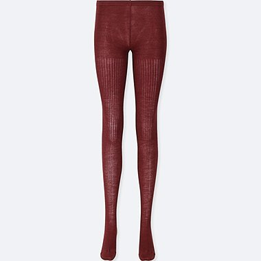 WOMEN HEATTECH KNITTED RIBBED TIGHTS, RED, medium