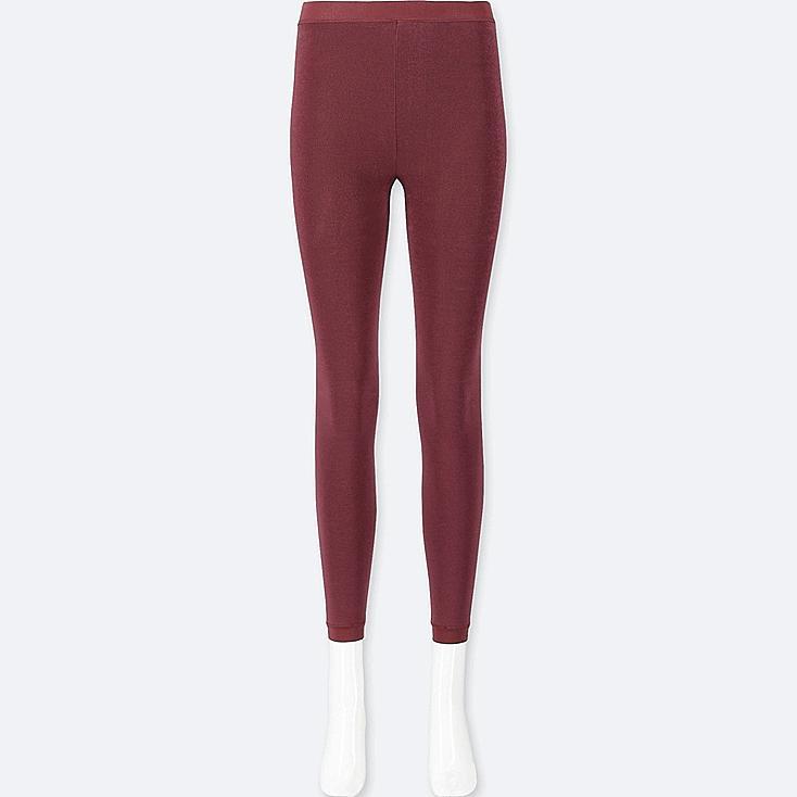 WOMEN HEATTECH PILE-LINED LEGGINGS, RED, large