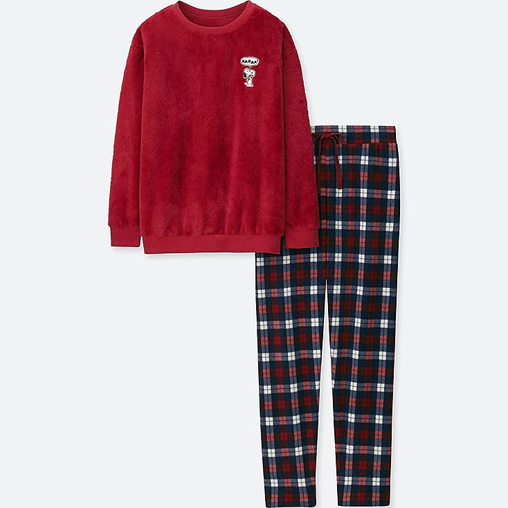 WOMEN PEANUTS LONG-SLEEVE FLEECE SET, RED, large