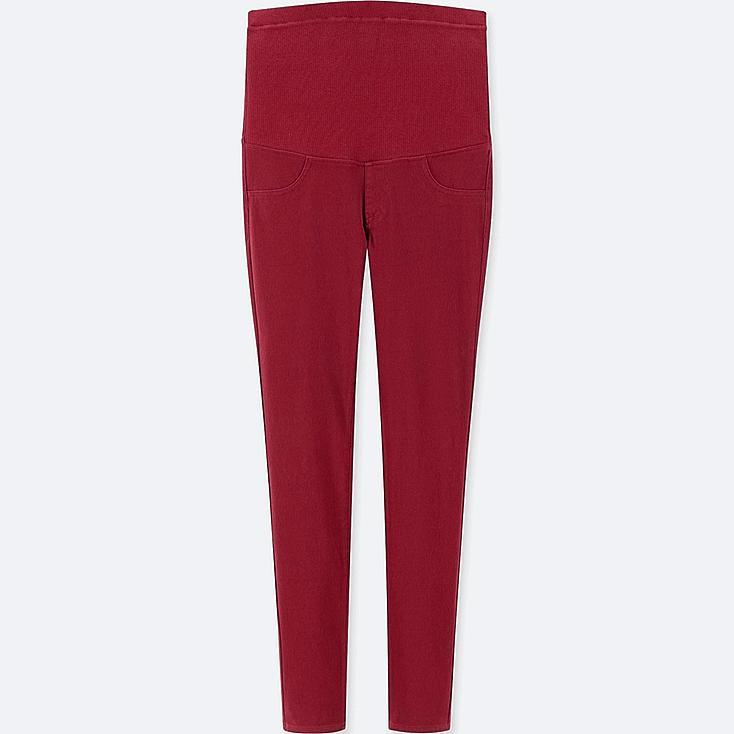 WOMEN MATERNITY LEGGINGS PANTS, RED, large