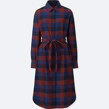WOMEN FLANNEL LONG-SLEEVE SHIRT DRESS, RED, medium