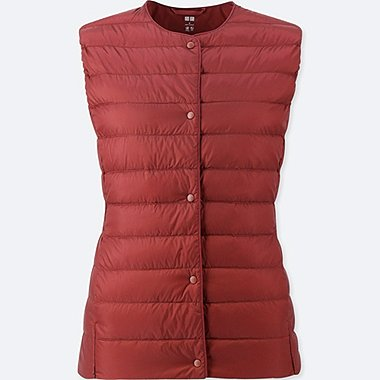 WOMEN ULTRA LIGHT DOWN COMPACT VEST, RED, medium