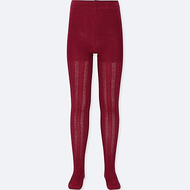 GIRLS KNITTED TIGHTS, RED, medium