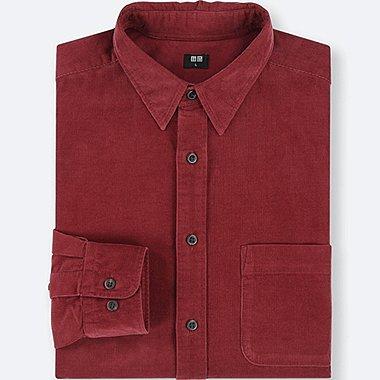 MEN CORDUROY LONG-SLEEVE SHIRT, RED, medium