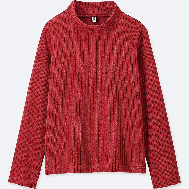 KIDS STRETCH FLEECE RIBBED HIGH-NECK LONG-SLEEVE T-SHIRT, RED, large