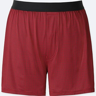 MEN AIRism CHECKED BOXERS, RED, medium