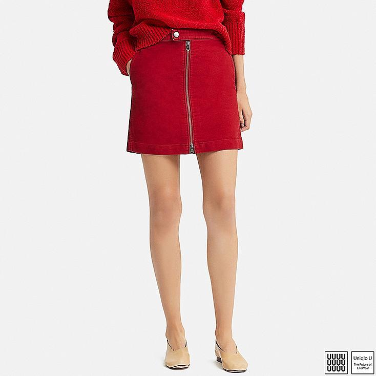 WOMEN U COTTON ZIPPED MINI SKIRT, RED, large
