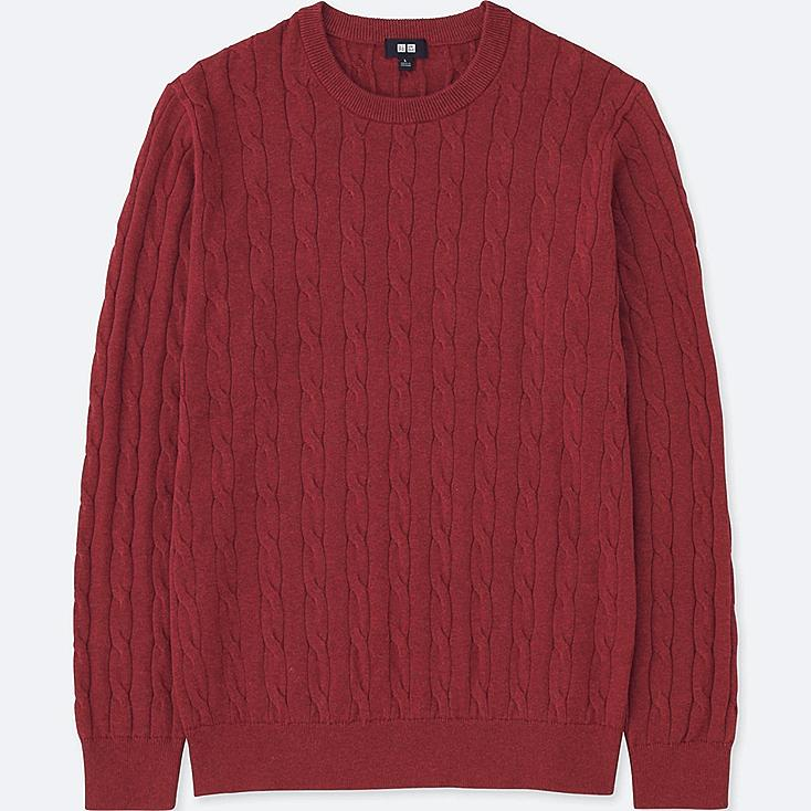 MEN COTTON CASHMERE CABLE LONG-SLEEVE SWEATER, RED, large