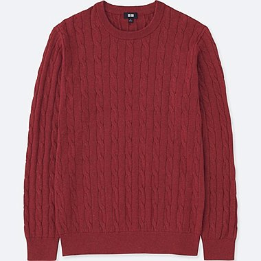 MEN COTTON CASHMERE CABLE LONG-SLEEVE SWEATER, RED, medium
