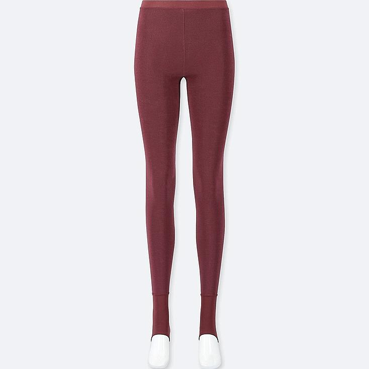 WOMEN HEATTECH PILE-LINED STIRRUP LEGGINGS, RED, large