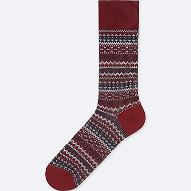 MEN HEATTECH FAIR ISLE SOCKS, RED, medium