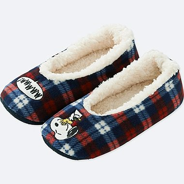 PEANUTS FLEECE SLIPPERS, RED, medium