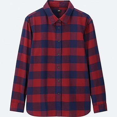 WOMEN FLANNEL GRID CHECKED LONG SLEEVED SHIRT
