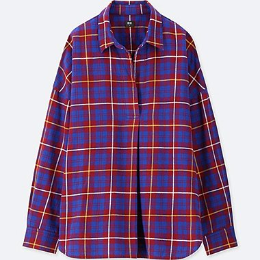 WOMEN FLANNEL CHECKED SKIPPER LONG-SLEEVE SHIRT, RED, medium